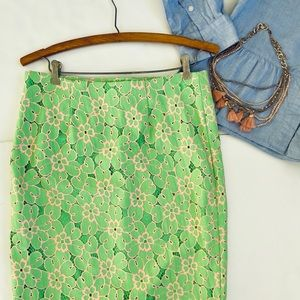 Lilly Pulitzer Green Lace Floral Pencil skirt 4